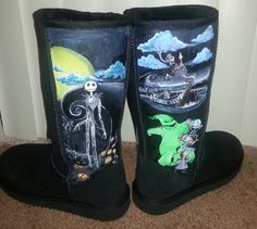Womens Sz 7 Black Shearling Suede Boots The Nightmare Before Christmas Jack Skellington Inspired Custom Painted Shoes on Etsy, $129.00