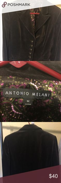 Antonio Melani velvet blazer Very well made and excellent condition. Worn once, this had great detail. Beautiful silk fabric inside. ANTONIO MELANI Jackets & Coats Blazers