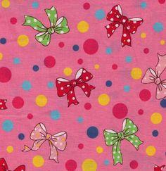 HALF YARD Yuwa Fabric -Bows and Polka Dots Pink designed Sunday 9am - Pink, Yellow, Green and Blue Circles - Japanese by fabricsupply on Etsy