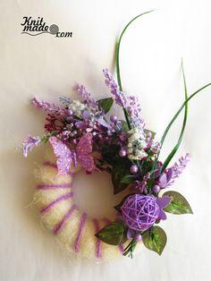 My florist work - Lilac lavender wreath #knitmadeflowers #knitmade #lilac #lavender #wreath