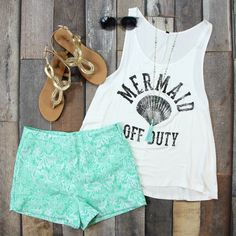 Shop this NEW Mermaid Off Duty Graphic Tank in Ivory for just $17! FREE SHIPPING ALWAYS!