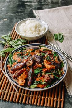 Japanese Eggplant with Chicken and Thai basil stir-fry wakes up your taste buds with Thai basil and tender Japanese eggplant and is so easy to make at home.