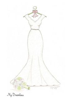 Personal Wedding Dress Sketch of her dress. A perfect one year anniversary gift, wedding gift from the groom or a bridal shower gift. Fashion Drawing Dresses, Fashion Illustration Dresses, Fashion Sketches, Fashion Dresses, Wedding Dress Sketches, Dress Design Sketches, Wedding Dresses, Feather Dress, Blue Feather