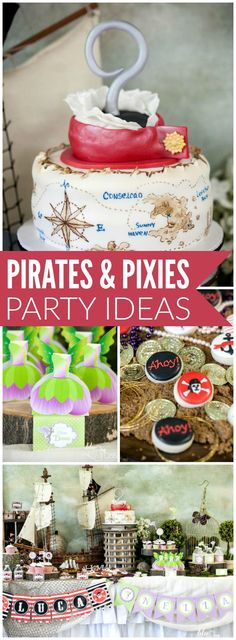 This incredible party combines pirates and pixies! See more party ideas at… Pirate Birthday Cake, 4th Birthday Cakes, Fairy Birthday Party, Twin Birthday, Birthday Party Themes, Birthday Ideas, Sibling Birthday Parties, Combined Birthday Parties, Joint Birthday Parties