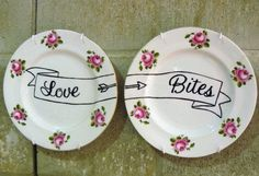 Love Bites hand painted vintage bone china by trixiedelicious