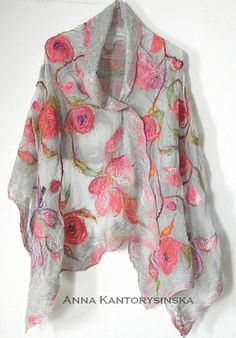 nuno felted silk scarf shawl wrap SPRING ROSES, handmade art to wear, silk wool scarf, nuno felt, eco fashion by Kantorysinska