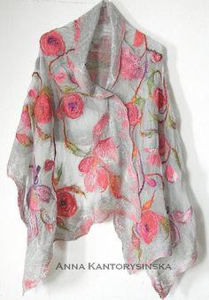nuno felted silk scarf shawl wrap SPRING ROSES, handmade art to wear, silk wool scarf, nuno felt, eco fashion by Kantorysinska