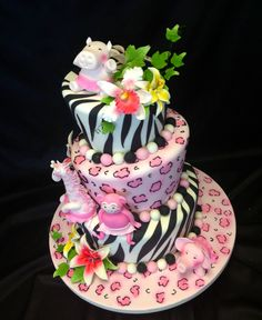 An awesome jungle themed madhatter cake with fondant animals