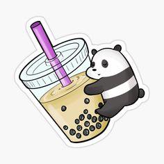 We bare bears panda drinking milk tea Stickers Cool, Stickers Kawaii, Bubble Stickers, Anime Stickers, Printable Stickers, Wallpaper Kawaii, Funny Phone Wallpaper, Bear Wallpaper, Cute Wallpaper Backgrounds