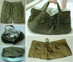Upcycled Cargo Shorts Bag