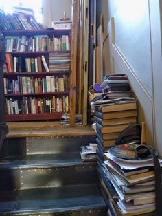 More book storage on the stairs. From Bible of British Taste