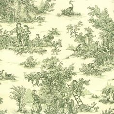Toile de jouy fabric - Pastorale 3. 280cm - green - by the metre