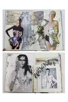Fashion Sketchbook - fashion design with visual research, fashion sketches, surface texture & structure development; fashion portfolio // Natasha Elliott by sallie Sketchbook Layout, Textiles Sketchbook, Fashion Design Sketchbook, Arte Sketchbook, Sketchbook Pages, Sketchbook Inspiration, Fashion Sketches, Sketchbook Ideas, Fashion Portfolio