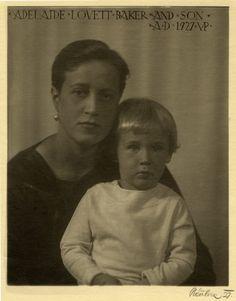 Black and white photograph of Adelaide Lovett Baker and son, 1927