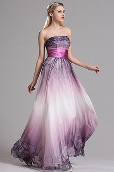 Strapless Printed A Line Purple Prom Evening Dress (X07151406)