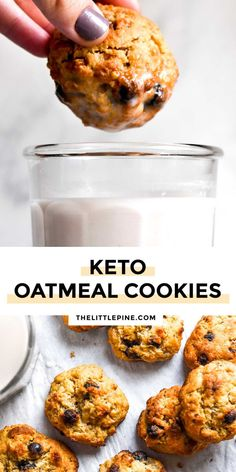 *NEW* Creating healthy recipes that satisfy that craving for a chewy, sweet bite like these delicious low carb oatmeal cookies make my whole world a little brighter! #lowcarboatmealcookies #ketocookies #oatmealcookies #keto #lowcarb Cookie Recipes From Scratch, Healthy Cookie Recipes, Healthy Cookies, Carbs In Oatmeal, Low Carb Oatmeal, Low Sugar Recipes, No Sugar Foods, Sugar Free Cookies, Keto Cookies