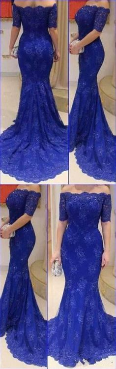 2016 Prom dress,Lace mermaid prom dress,Off shoulder prom dress,Long prom dress,Royal Blue Evening dresses,