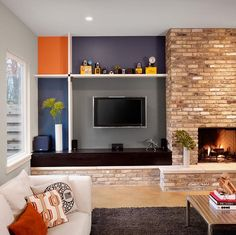 Casual Contemporary Living & Family Room by Laura Britt Retro Living Rooms, Living Spaces, Kitchen Fabric, Modern Contemporary, Modern Retro, Cozy House, Interior Inspiration, Design Inspiration, Kitchen Design