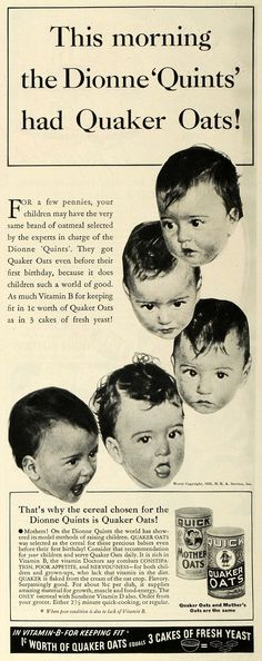 This is an original 1935 black and white print ad for Quaker Oats breakfast cereal. This ad features the famous Dionne 'Quints', the first set of quintuplets known to make it past their infancy. CONDI