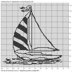Free Filet Crochet Charts and Patterns: Filet Crochet Sailboat - Chart A