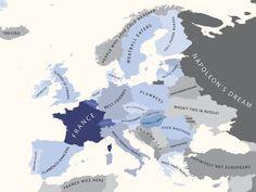 """Europe According to France"" - Funny map illustration by Bulgarian modern artist Yanko Tsvetkov. European History, World History, History Major, French History, History Memes, Viking Tribes, Funny Maps, Haha, Dream Friends"