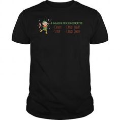 Awesome Tee  4 Main Food Groups - Candy Corn Cane Syrup Christmas T-Shirt