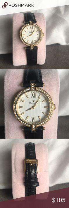 Burgmeister Women's Watch Burgmeister Women's Florenz Gold Stainless Steel watch with Swaroviski Crystals and black leather band. Worn maybe 3 times. Burgmeister Accessories Watches