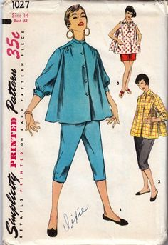 Simplicity Pattern 1027 Misses' Maternity Blouse Pattern with Shorts or Toreador Pants Dated 1955 Factory Folded and Unused Nice Condition Overall Size 13 Bust) We Sell the Best Original Vintage Sewing Patterns and Embroidery Transfers! Vintage Dress Patterns, Clothing Patterns, Vintage Dresses, Vintage Outfits, 1950 Outfits, 1960s Dresses, Maternity Patterns, Retro Fashion, Vintage Fashion