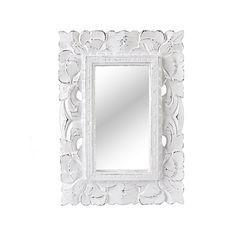 Vacker handkarvad spegel i White wash.Mått: 25 x 35