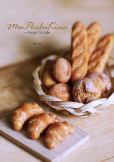 Breads (Croissant, Baguette, Boule) by monpuchikissa.deviantart.com on @deviantART