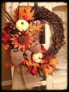Fall Wreath... Designs By Karrie Autumn Wreath Diy, Diy Wreath, Holiday Wreaths, Wreath Ideas, Wreath Crafts, Door Wreaths, Grapevine Wreath, Thanksgiving Wreaths, Thanksgiving Decorations
