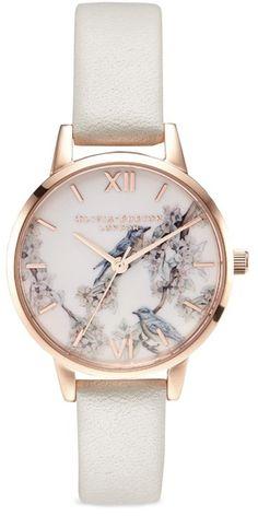 Olivia Burton 'Blossom Birds' leather strap 30mm watch https://timetogetone.myshopify.com/