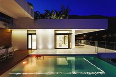 Villa & Resort: Sparkling Swimming Pool At Night With Modern Exterior Of Luxury Villa In Spain: Luxury Hillside Villas, The Cliff House by Altea Hills Estate