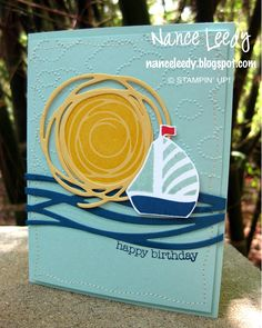 handmade birthday card from Canopy Crafts ... Swirly Bird ... die cut sea and sun .. luv the blue background with dotty clouds ... Stampin' Up!