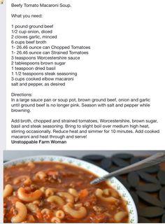Beefy Tomato Macaroni Soup - Unstoppable Farm Woman