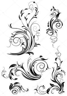 Herunterladen - Gruppe von floralen Gestaltungselementen — Stockillustration #2510249