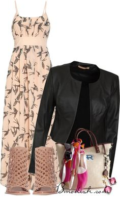 maxi dress with leather jacket outfit- shoes look great for having a long dress on