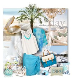 """Turquoise Summer"" by tracireuer ❤ liked on Polyvore featuring St. Tropez, Nearly Natural, RVCA, Tory Burch, Caffco, Pier 1 Imports and Ross-Simons"
