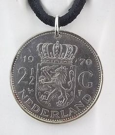 1970 Netherlands Coin Necklace 2 Gulden by AutumnWindsJewelry Coin Jewelry, Coin Necklace, Pendant Necklace, Leather Cord, Black Leather, Coin Pendant, Ball Chain, Netherlands, Coins