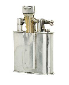 DUNHILL Rare INSET LOCKER KEY Heavy Sterling Silver B Size Petrol Lighter c1930s