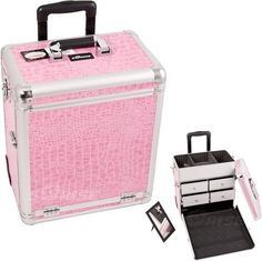 Pink Interchangeable Crocodile Textured Print Professional Rolling Makeup Case With Split Drawers by SunRise. $117.84. FEATURES New interchangeable series. Upgradable to any E series top cases. This line will allow customer to mix and match any E series cases according to their needs High quality aluminum finish and construction with reinforced steel corners for extra durability Beautiful new pink crocodile printing textured finish with silver aluminum trimming ...