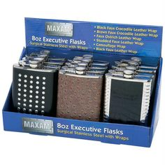 Maxam 12pc 8oz Executive Stainless Steel Flasks In Countertop Display