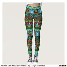 Knitted Christmas Sweater Reindeer Snowman Winter Holiday Leggings :)