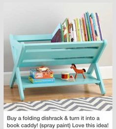 Buy A Folding Dish Rack And Turn It Into A Book Caddy! works great for kids bedroom, nursery decor, or playroom decor Girl Room, Baby Room, Child's Room, Kids Bedroom Ideas For Girls Toddler, Kids Girls, Kids Bookcase, Childrens Bookcase, Baby Bookshelf, Bookshelf Ideas