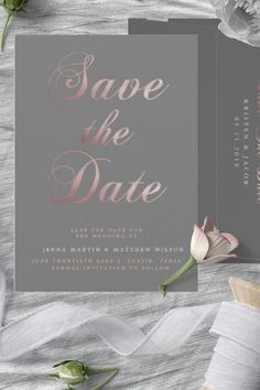 This Modern and romantic Wedding Save The Date Card features handwritten Calligraphy in Rose Gold color over Gray background. A minimalistic design style with a luxurious chic, fit perfect with Rose gold and pink blush wedding themes. This impravie save the date card is part of a collection of wedding stationery and invite with the same design that can be edited and Personalized. Funny Save The Dates, Save The Date Photos, Save The Date Postcards, Save The Date Cards, Minimalist Wedding Invitations, Wedding Invitation Cards, Wedding Stationery, Invite, Blush Wedding Theme