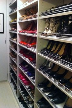 5 Pro Tips That Can Transform Your Closet #refinery29  http://www.refinery29.com/melanie-charlton#slide-3  Shoe Love Three basic ways to best store your shoes are: in pairs on a flat shelf, in pairs on a slanted shelf, or in open-ended shoe boxes that can be stacked. (Note: I can't stand closed-up vessels that make it difficult to get to the goods right away.) In my closet, you'll find shoes on shelves with heels up high, flats down low, with the toes facing out to me so I can see ...