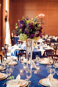 Purple, Blue & Green Wedding Reception Clear Cylinder Tall Centerpiece by Blume Events www.idoaz.com Photography by www.liphotoaz.com
