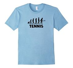 Funny Tennis Evolution T-Shirt - Male Medium - Baby Blue ** To view further for this item, visit the image link.