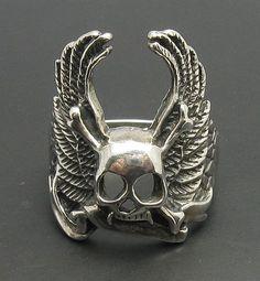 R000656 Sterling Silber Ring 925 solide Skull von EmpressSilver