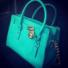 Turquoise Michael Kors, love it! michael kors outlet, fashion, turquoise, style, designer handbags, michaelkor, colors, tiffany blue, michael kors purses